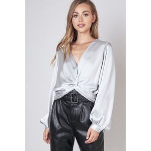 Do + Be Front Twist Silver Crop Top